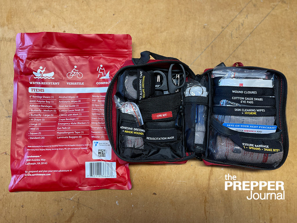 The Surviveware 72 hour survival backpack comes with one of their own Small First Aid kits.